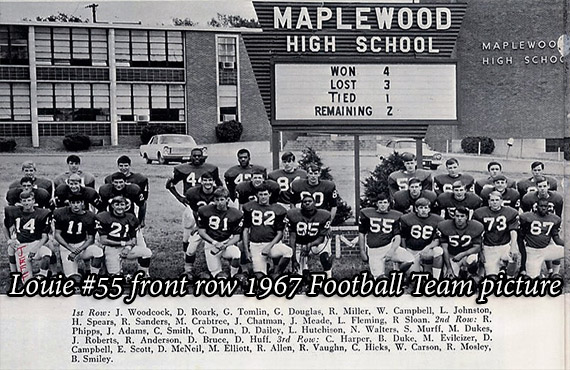 Louie #55 front row 1967 Football Team picture