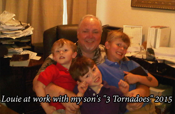 """Louie at work with my son's """"3 Tornadoes"""" 2015"""