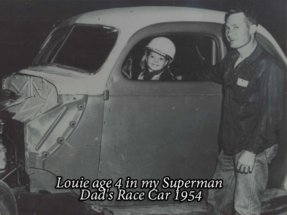 Louie age 4 in my Superman Dad's Race Car 1954