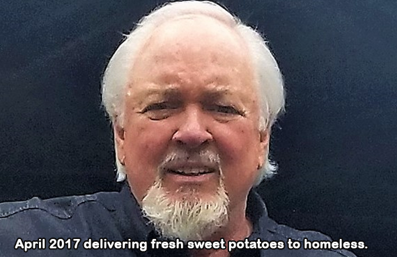 April 2017 delivering fresh sweet potatoes to homeless